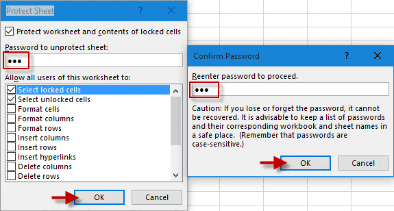 Enter sheet password