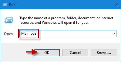 Type msinfo32 in Run box