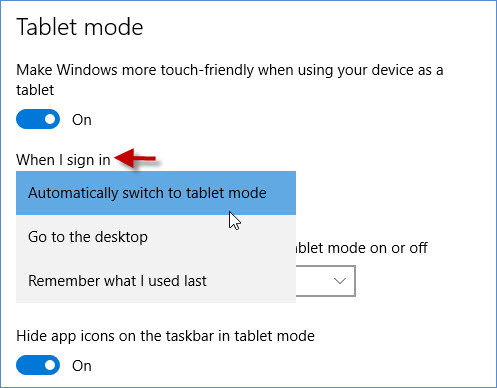 Choose when to go to tablet mode
