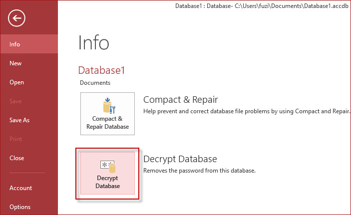 Haga clic en Descifrar base de datos