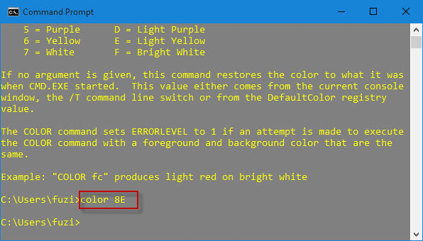 Change CMD color with command
