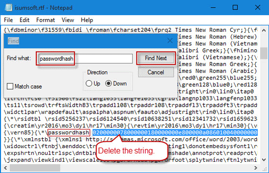 Delete the string next to passwordhash