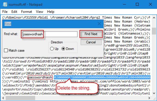 delete the string next to passwordhash