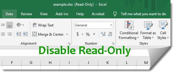 disable read-only in excel 2016
