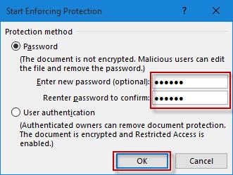 enter password protection
