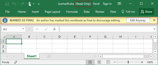 Workbook is marked with read-only