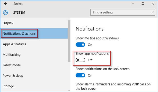 Desactivar en Mostrar notificación de la aplicación
