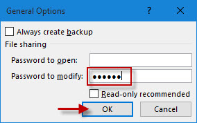 Enter password to modify