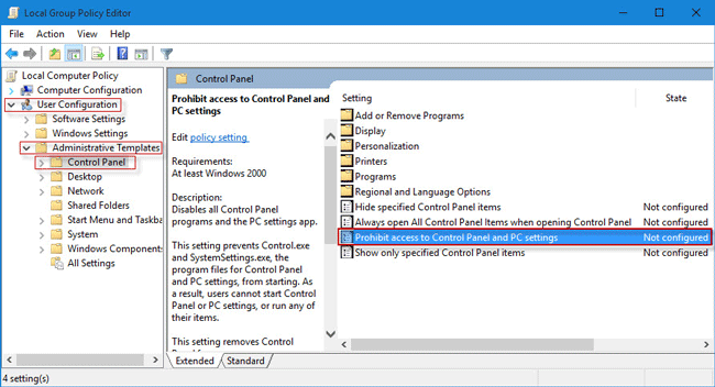 Double click on Prohibit access to Control Panel and PC settings
