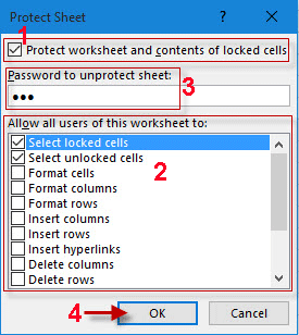 protect sheet with password