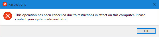 Restrictions dialog