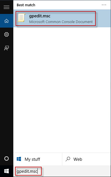 Search gpedit.msc in Start menu