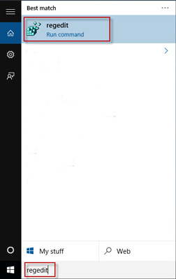 Search regedit in Start menu