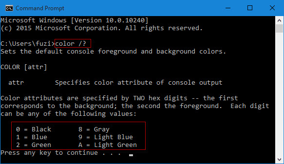 Type color command