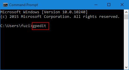 Type gpedit in CMD