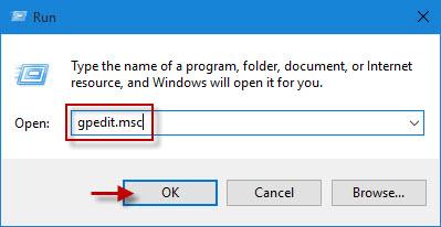 Type gpedit.msc in Run box