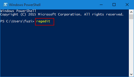 Type regedit in PowerShell