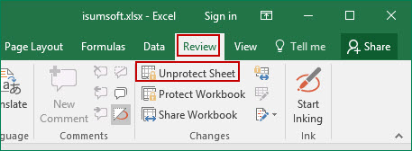click Unprotect Sheet