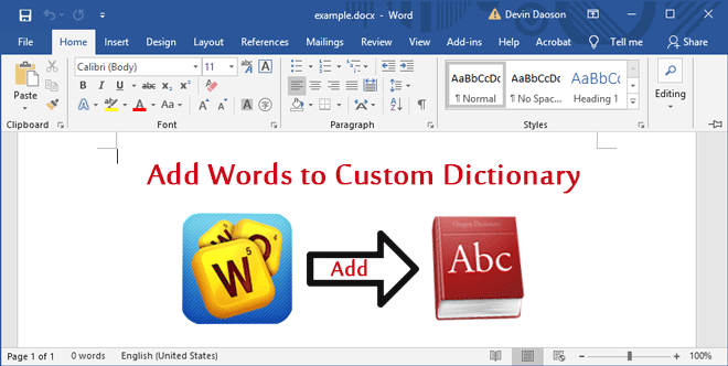 How to Add Words to Custom Dictionary in Microsoft Word 2016