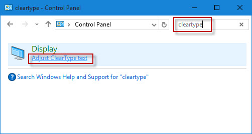 how to turn on  off cleartype text in windows 10