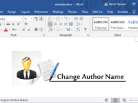 change author name in word