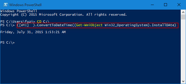 check install date in powershell
