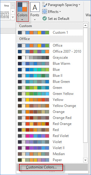 Customize colors