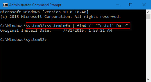 type command to get original install date