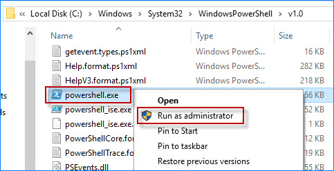 right click on powershell.exe