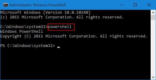 Run powershell from command prompt
