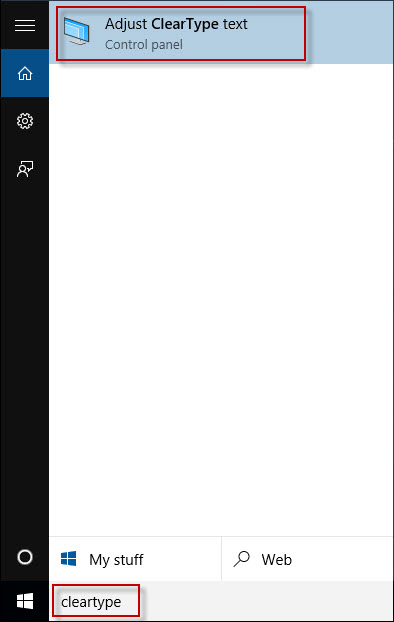 Type cleartype in Start menu