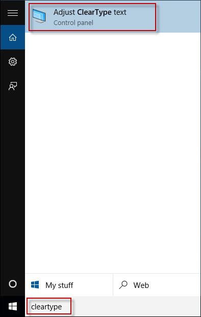 Type cleartype in Start menu