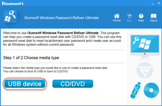 Create password reset disk on USB device