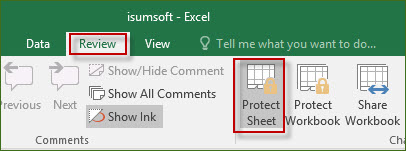 Click on Protect Sheet