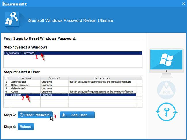 Seleccione la cuenta y haga clic en Restablecer contraseña