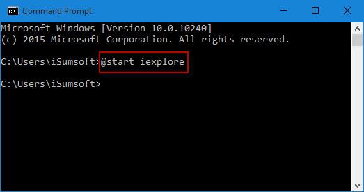 Start internet explorer from cmd