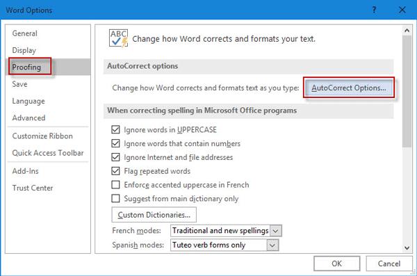click AutoCorrect Options