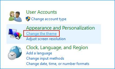 Click Change the theme