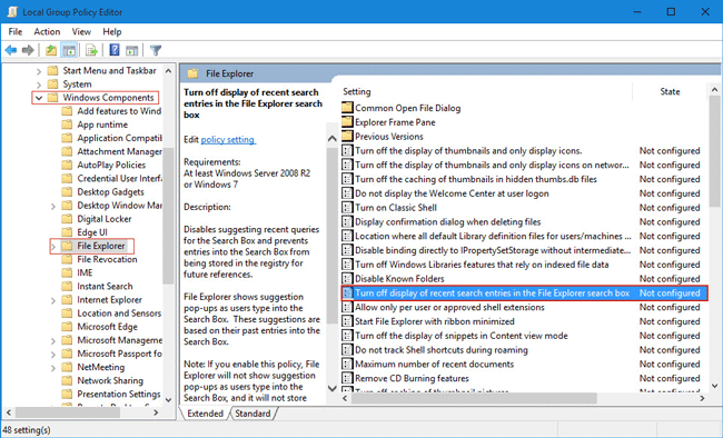 Turn off display of search history