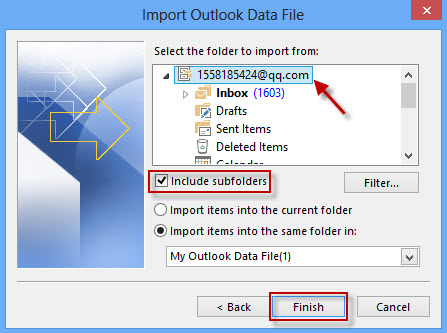Select the folder to import from