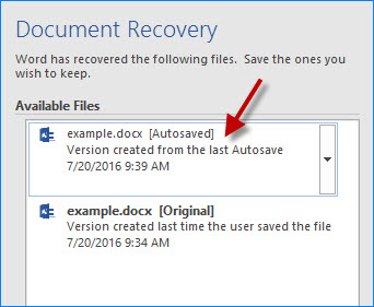 Select the autosaved version of Word file