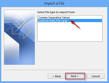 Select Outlook Data File