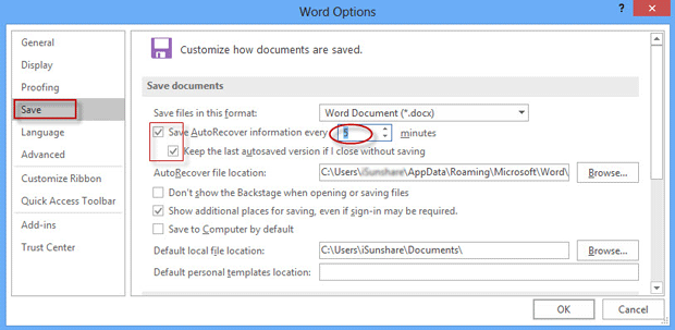set autosave in Word 2016