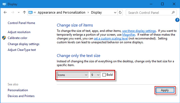 change text size of desktop icons