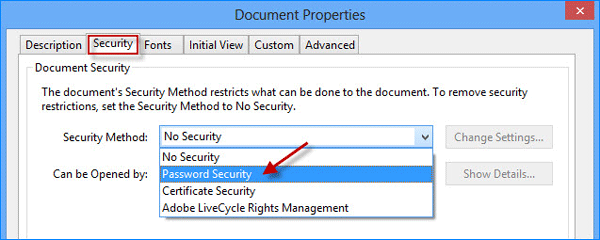 how to change security property of a pdf document