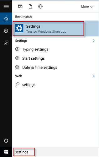 Search settings in search box