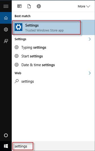Search settings in search box