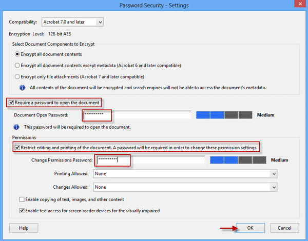 Set Document Open and Permissions Passwords