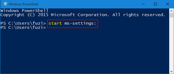 Start Settings in PowerShell