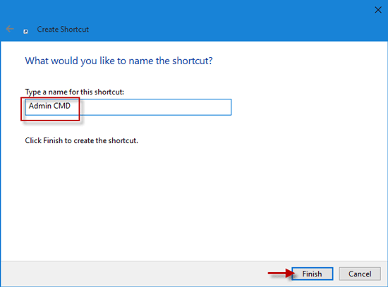 Type name for the shortcut